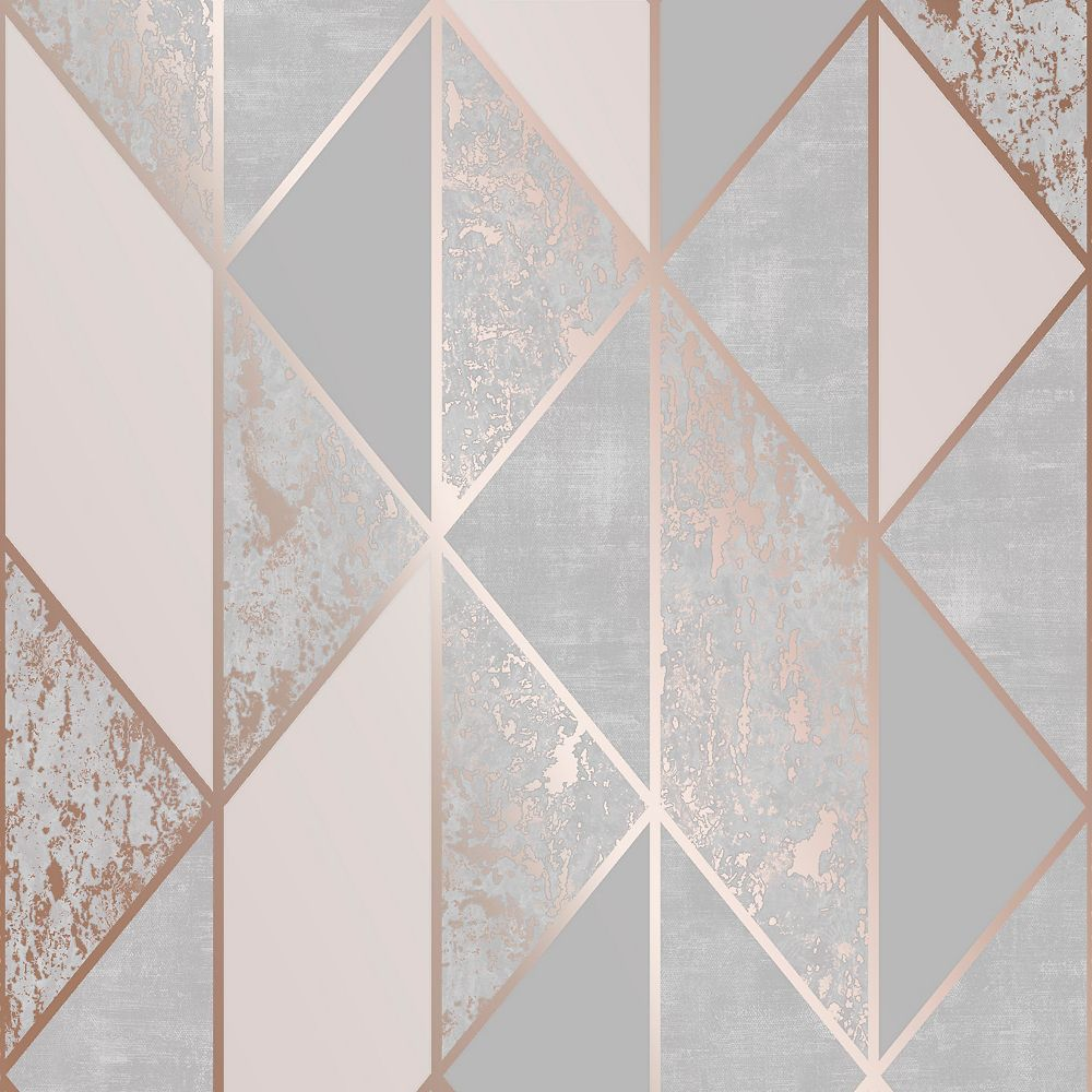 Graham & Brown Wallcoverings Milan Geo Rose Gold and Grey Removable Wallpaper