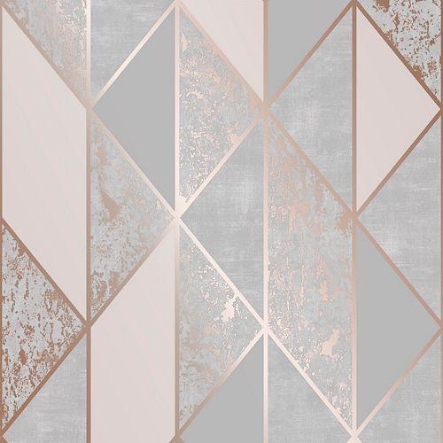 Papier peint géométrique Milan or rose et gris