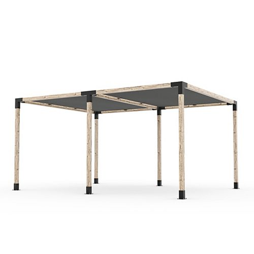 12 ft. x 16 ft. Double Pergola Kit with 2 Shade Sails for 4x4 Wood
