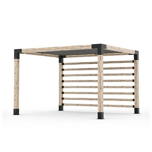 10 ft. x 12 ft. Pergola Kit with 4x4 KNECT Post Wall and Shade Sail for 6x6 Wood Posts