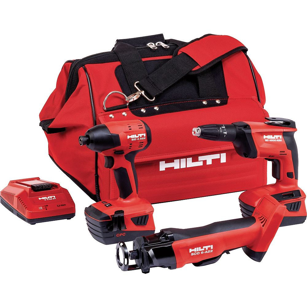 Hilti 22-Volt Lithium-Ion 3 Tool Cordless Combo with Drywall Screw Gun, Impact Driver and Cut Out Tool