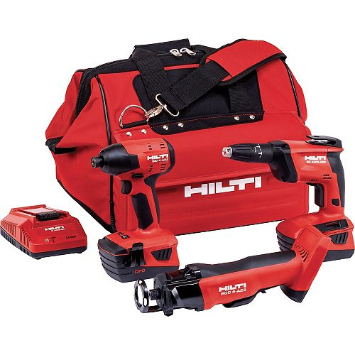 22-Volt Lithium-Ion 3 Tool Cordless Combo with Drywall Screw Gun, Impact Driver and Cut Out Tool