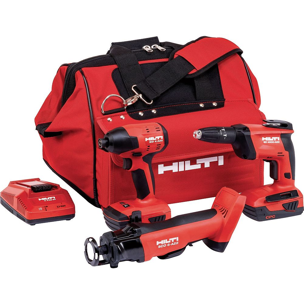 Hilti 22-Volt Lithium-Ion Cordless Cut-Out Tool/Drywall Screw Gun/Impact Driver Compact Combo Kit (3-Tool)