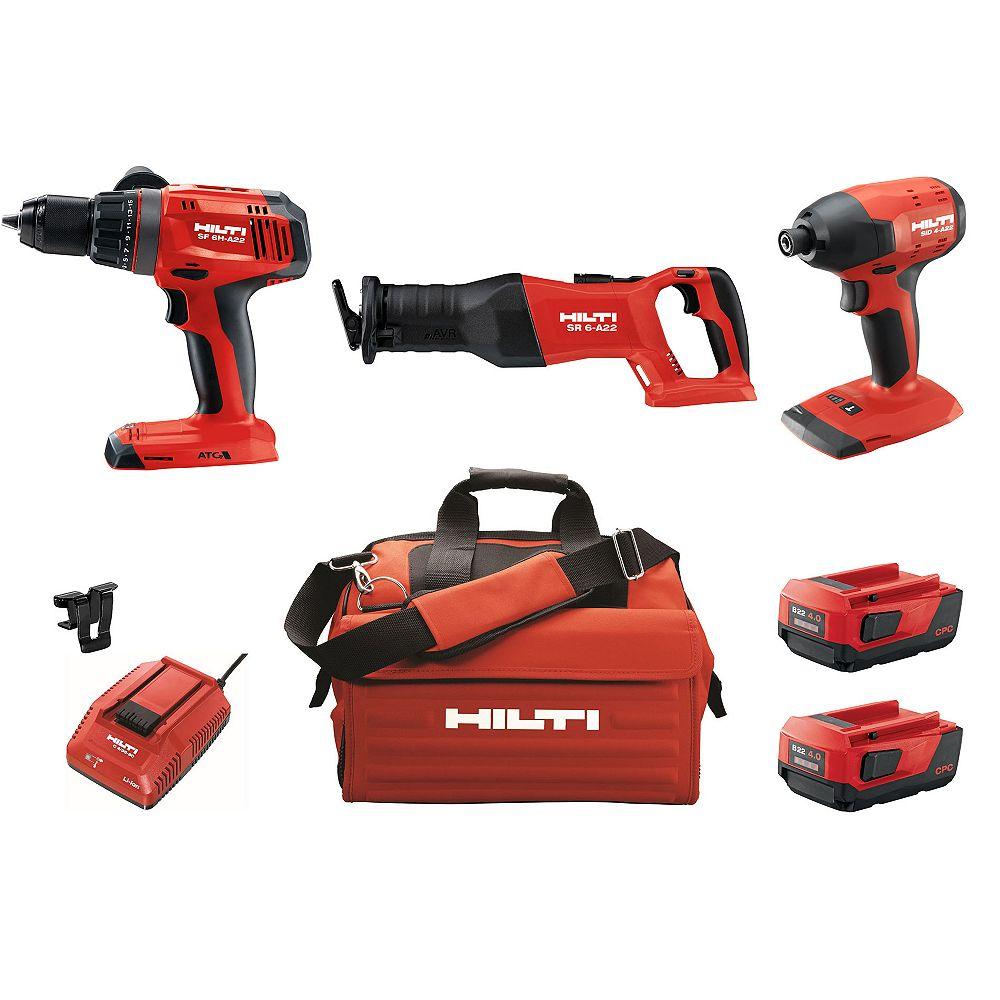 Hilti 22-Volt Keyless Chuck Cordless Hammer Drill Driver/Impact Driver/Reciprocating Saw Combo (3-Tool)