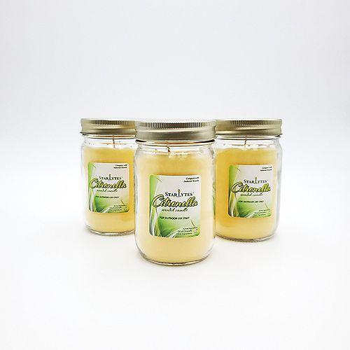 Bougies parfumées à la citronnelle dans des bocaux Mason de 9oz (lot de 3)