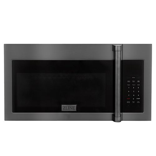 ZLINE Over the Range Microwave Oven in Black Stainless Steel with Modern Handle