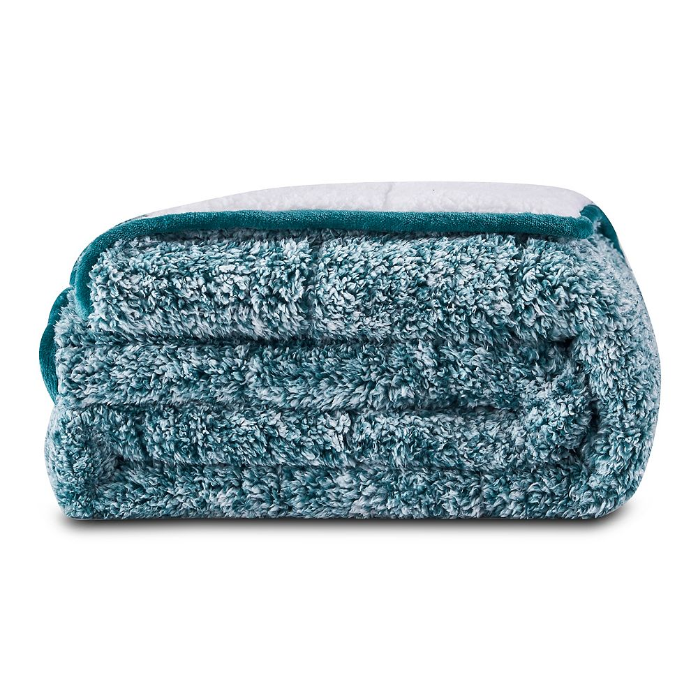 Nest & Style Teddy Sherpa with Sherpa Reverse Weighted Throw Blanket 12 lbs - Hunter Green