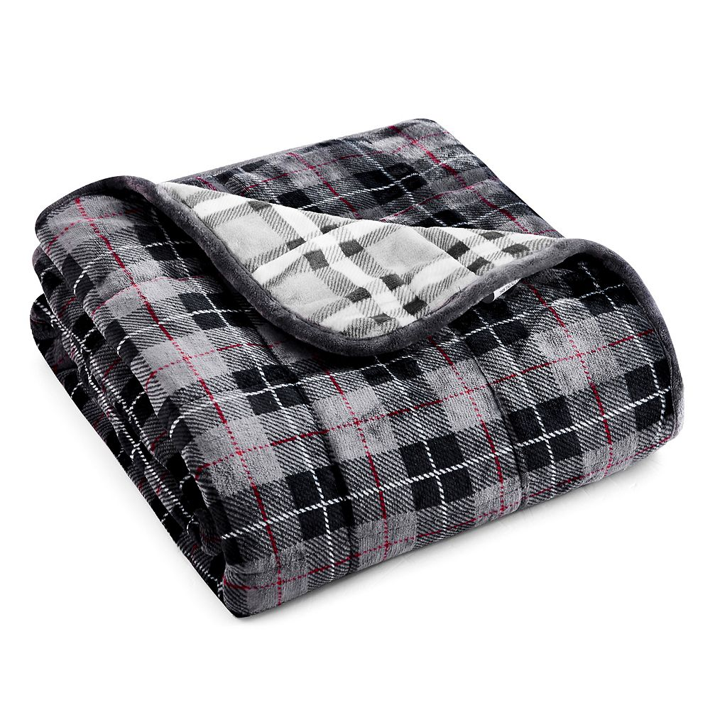 Rejuve Velvet to Velvet Weighted Throw Blanket 10 lbs -  Light Grey Plaid