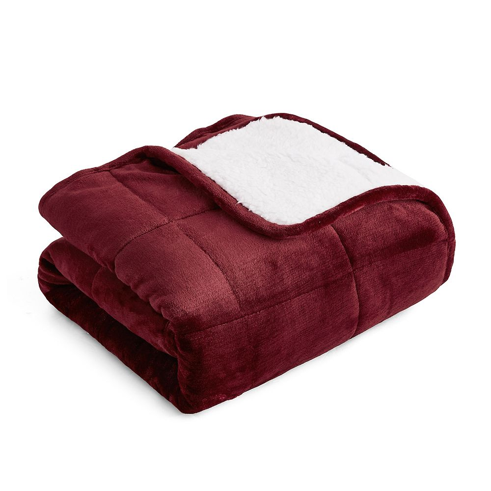 Rejuve Velvet Sherpa Weighted Throw Blanket for Kids 6 lbs  - Earth Red