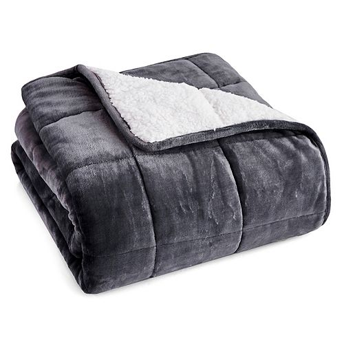 Velvet Sherpa Weighted Throw Blanket for Kids 6 lbs  - Smokey Grey