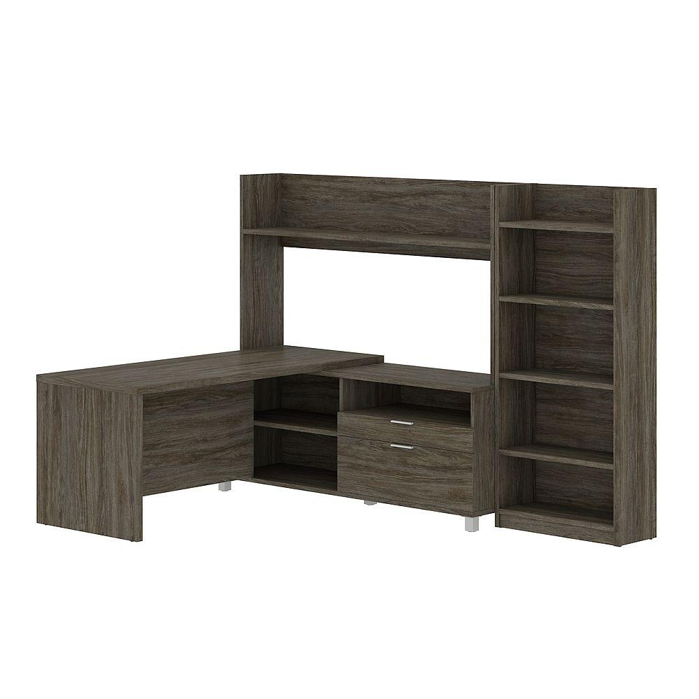 Bestar Pro-Linea L-Shape Kit walnut grey