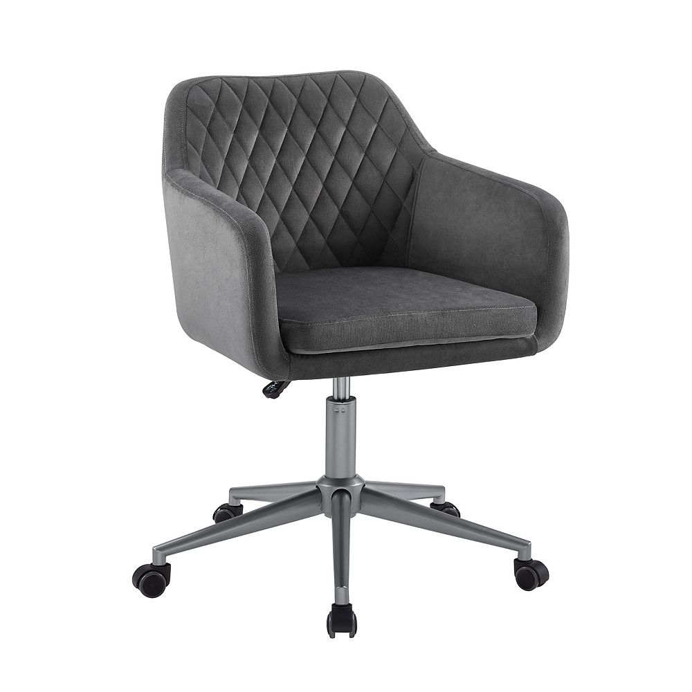 Linon Home Décor Products Imogen QUILTED OFFICE CHAIR GREY