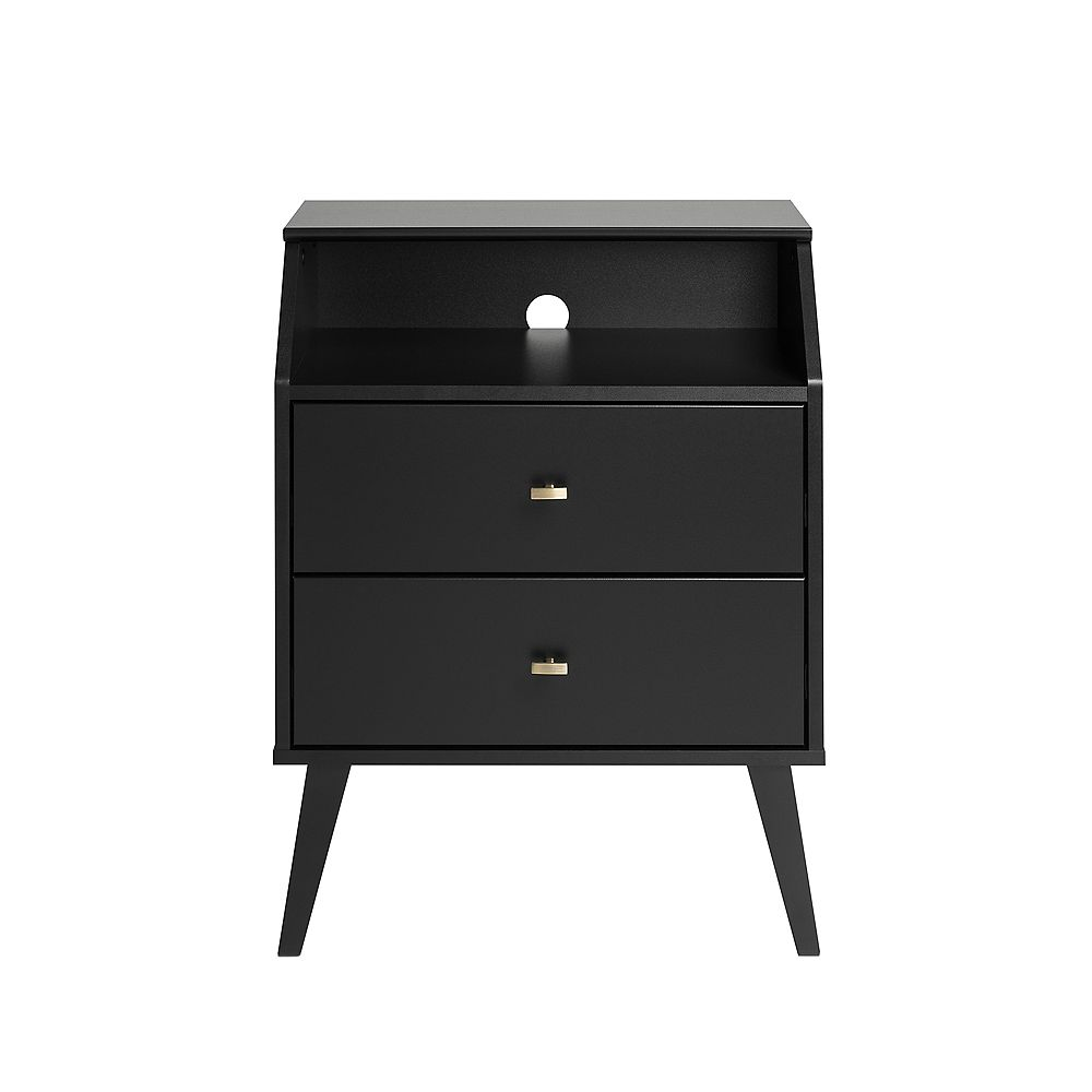 Prepac Milo 2 Drawer Night Stand with Angled Top, Black