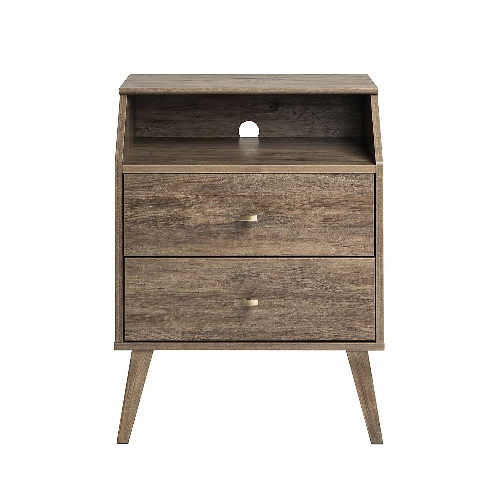 Prepac Milo 2 Drawer Night Stand with Angled Top, Drifted Gray