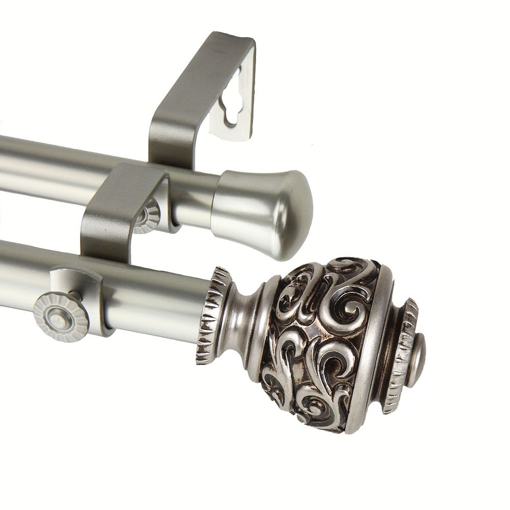 """Rod Desyne 48 in. to 84 in Adjustable 3/4"""" Dia Double Curtain Rod in Satin Nickel with Eleanor Finials"""