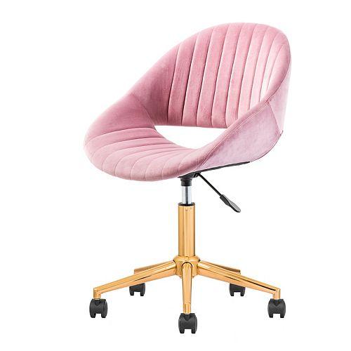 Golden-Light Pink Plush Velvet Office Chair