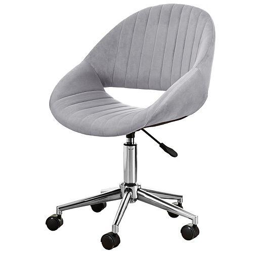 Polish Steel-Grey Plush Velvet Office Chair