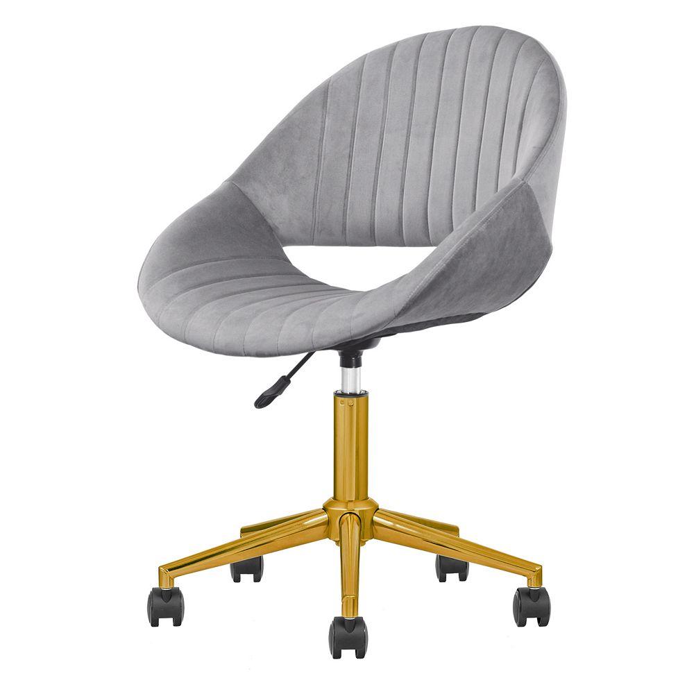 OVIOS Golden-Grey Plush Velvet Office Chair