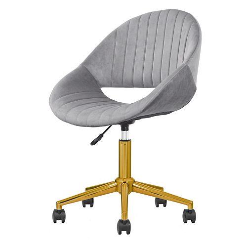 Chaise de bureau en velours peluche gris doré