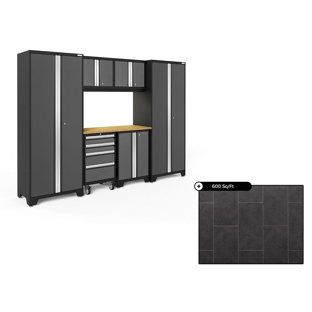 NewAge Products Bold Series Grey 7-Piece Steel Garage Cabinet Set, Bamboo Top with 600 sq.ft. LVT Flooring Bundle