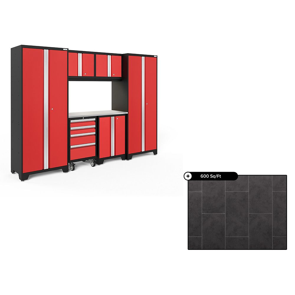 NewAge Products Bold Series Red 7-Piece Garage Cabinet Set, Stainless Steel Top with 600 sq.ft. LVT Flooring Bundle