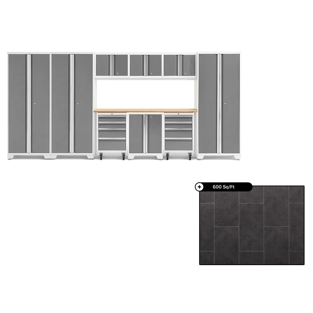 NewAge Products Bold Series Platinum 10-Piece Garage Cabinet Set, Bamboo Top with 600 sq.ft. LVT Flooring Bundle