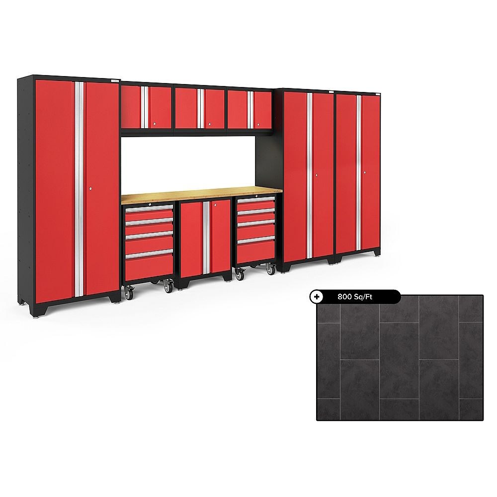 NewAge Products Bold Series Red 10-Piece Steel Garage Cabinet Set, Bamboo Top with 800 sq.ft. LVT Flooring Bundle