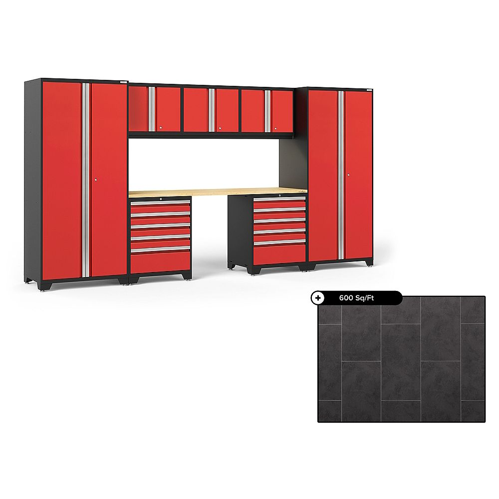 NewAge Products Pro Series Red 8-Piece Steel Garage Cabinet Set, Bamboo Top with 600 sq.ft. LVT Flooring Bundle
