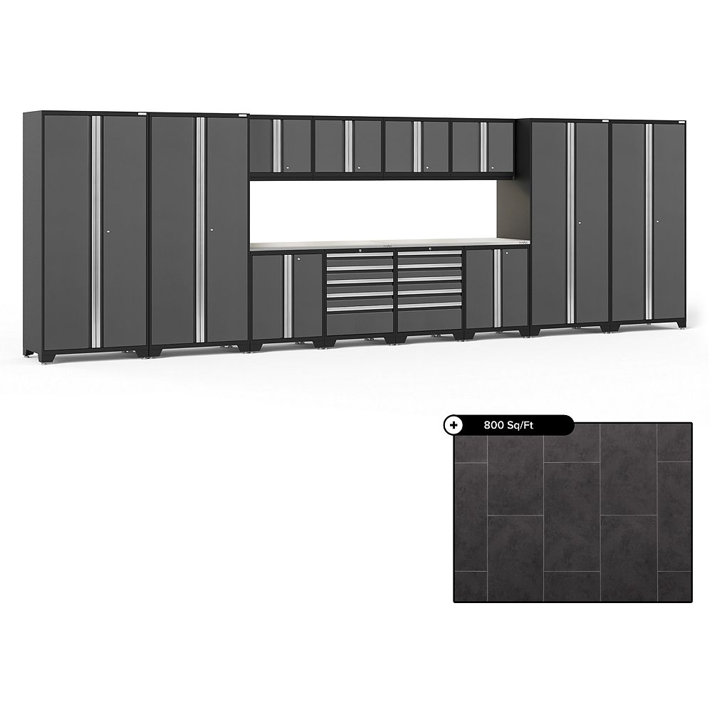 NewAge Products Pro Series Grey 14-Piece Garage Cabinet Set, Stainless Steel Top with 800 sq.ft. LVT Flooring Bundle