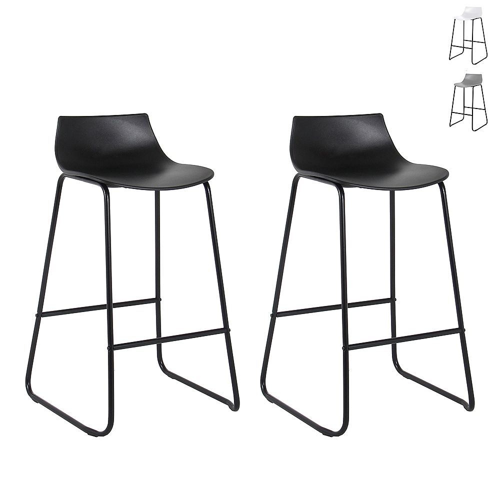Bronte Living 28 inch Modern PP Bar Stool with Low Backrest - Black with Black Legs - Set of 2