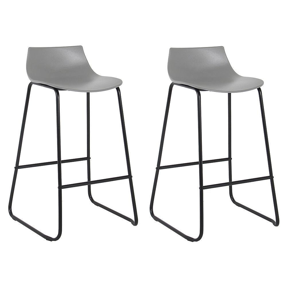 Bronte Living 28 inch Modern PP Bar Stool with Low Backrest - Gray with Black Legs - Set of 2