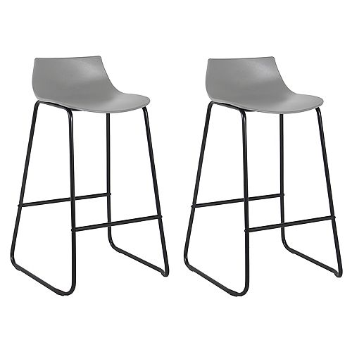 Bronte Living 28 inch Modern PP Bar Stool with Low Backrest - Grey with Black Legs - Set of 2