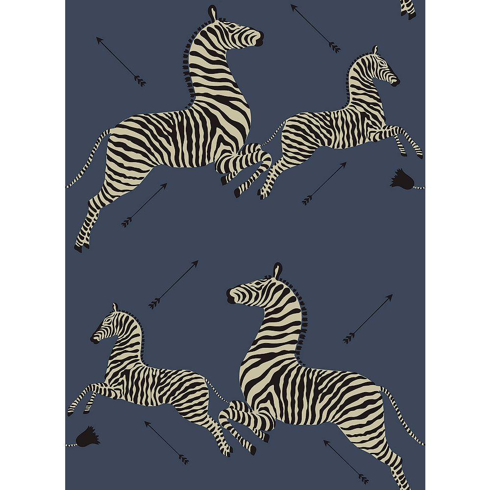 Scalamandre Denim Zebra Safari Scalamandre Self Adhesive Wallpaper