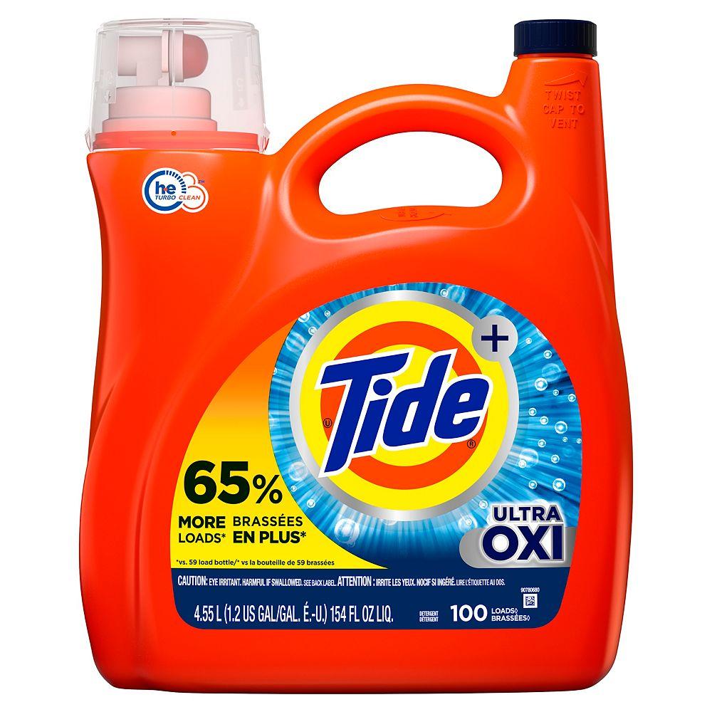 Tide Tide Ultra Plus Oxi, 100 Loads Liquid Laundry Detergent, 154 fl oz