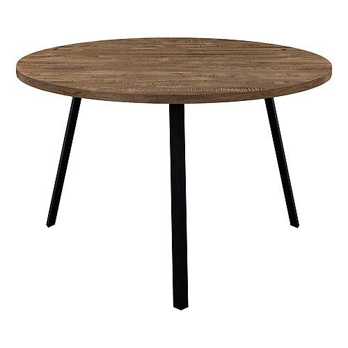 """Dining Table - 48""""Dia/ Brown Reclaimed Wood / Black Metal"""