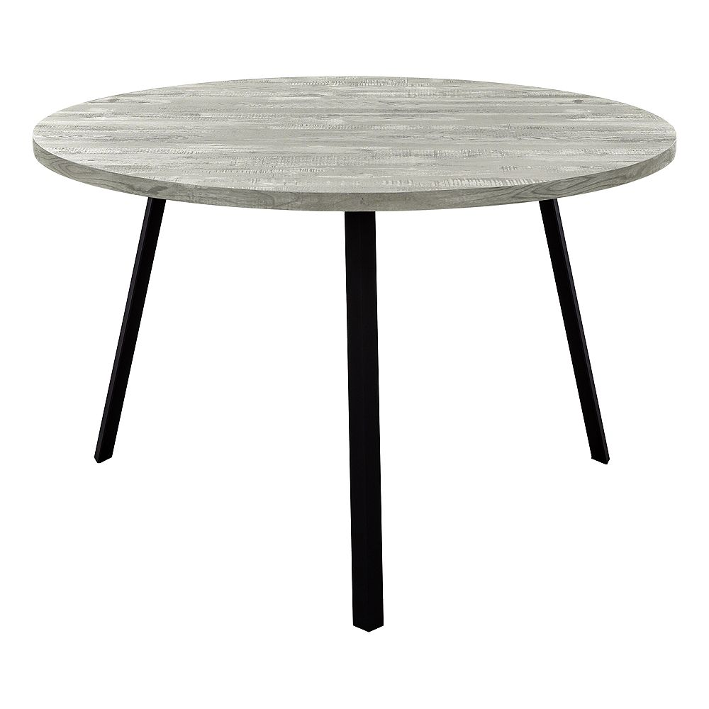 "Monarch Specialties Dining Table - 48""Dia/ Grey Reclaimed Wood / Black Metal"