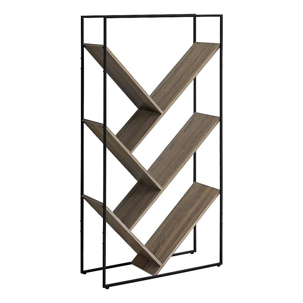"""Monarch Specialties Bookcase - 60""""H / Dark Taupe / Black Metal"""