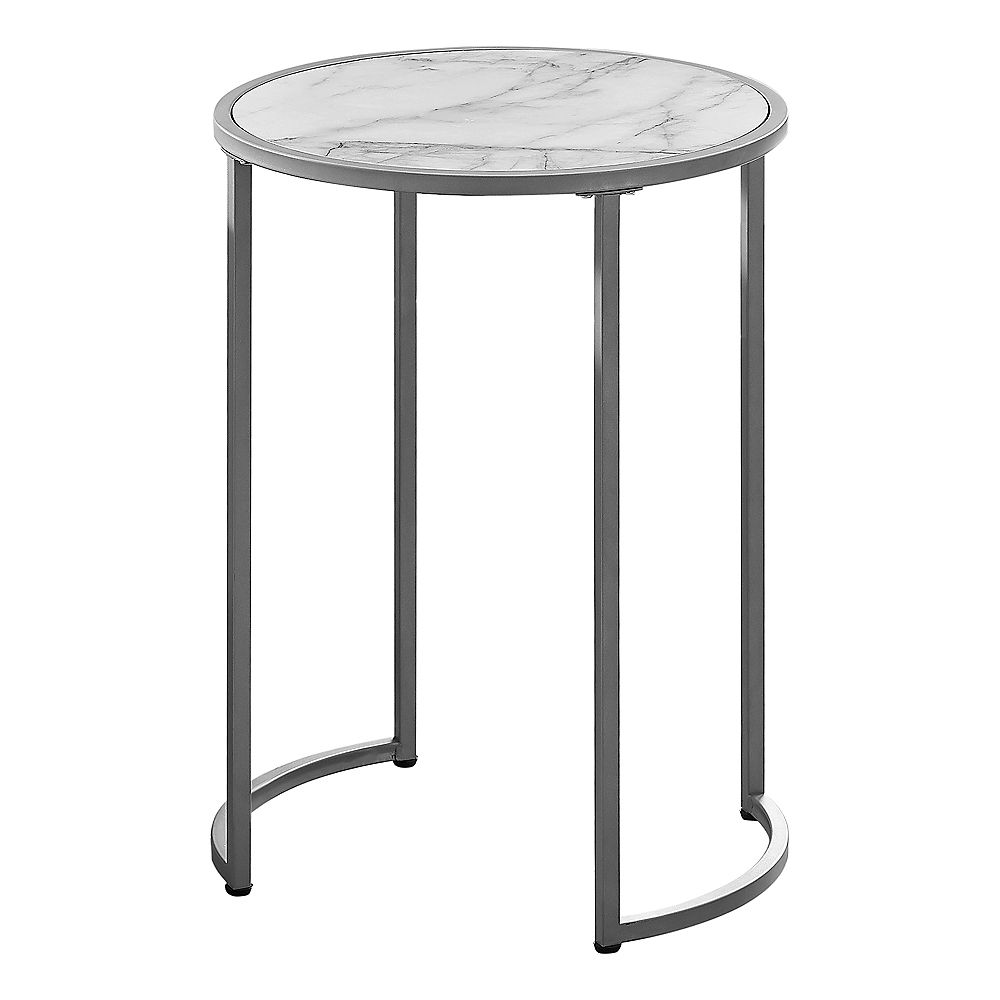 """Monarch Specialties Accent Table - 24""""H / White Marble-Look / Silver Metal"""