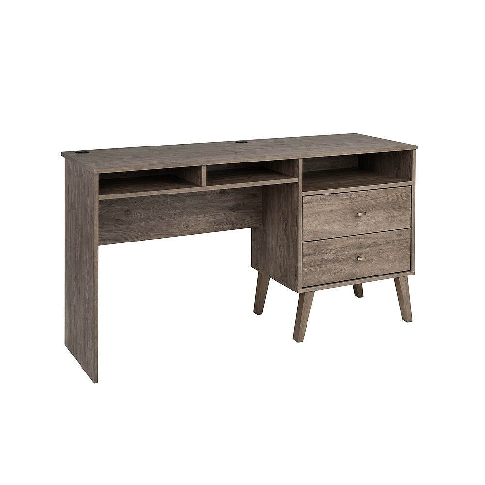 Prepac Milo Desk with Side Storage and 2 Drawers, Drifted Gray