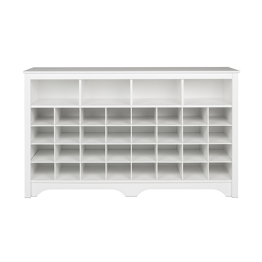 Prepac 60 in Shoe Cubby Console , White