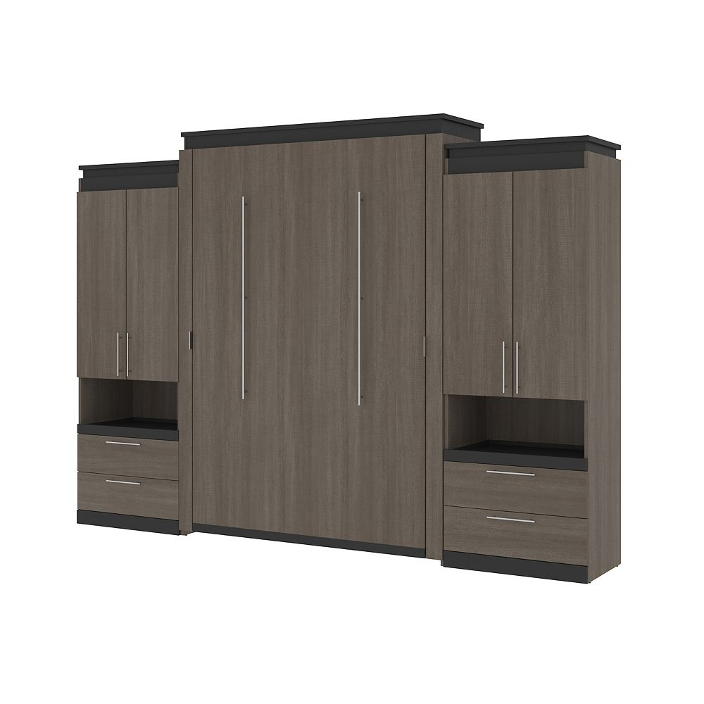 Bestar Orion 124W Queen Murphy Bed and 2 Storage Cabinets in bark gray & graphite