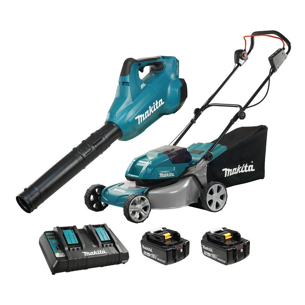 MAKITA 18Vx2 18-inch Cordless Lawn Mower with 18Vx2 LXT Cordless Turbo Blower