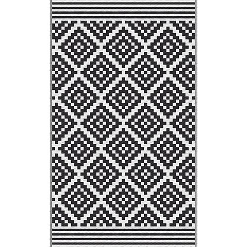 Black and White Reversible 3 ft. x 5 ft. Outdoor Patio Rug