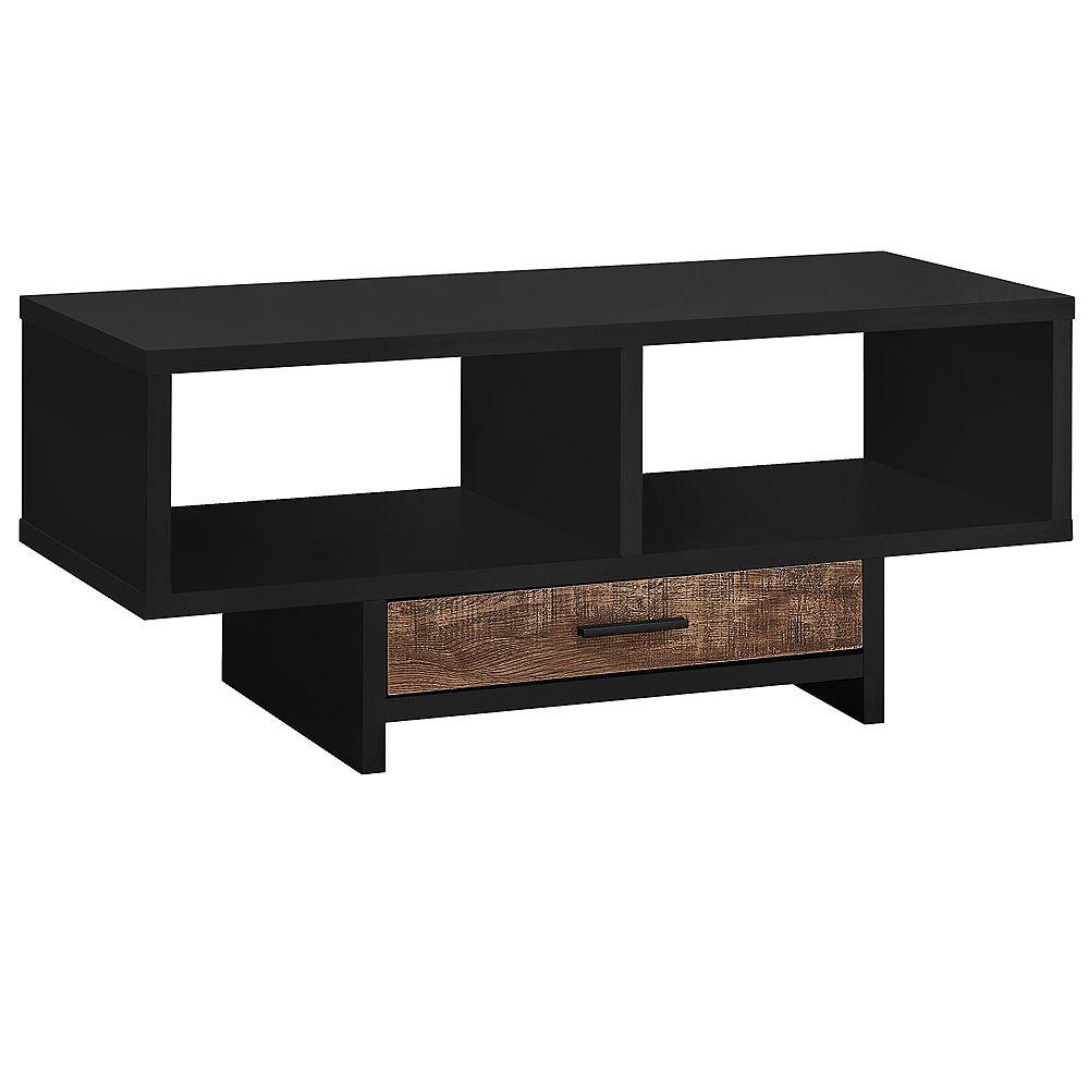 Monarch Specialties Coffee Table - Black / Brown Reclaimed Wood-Look
