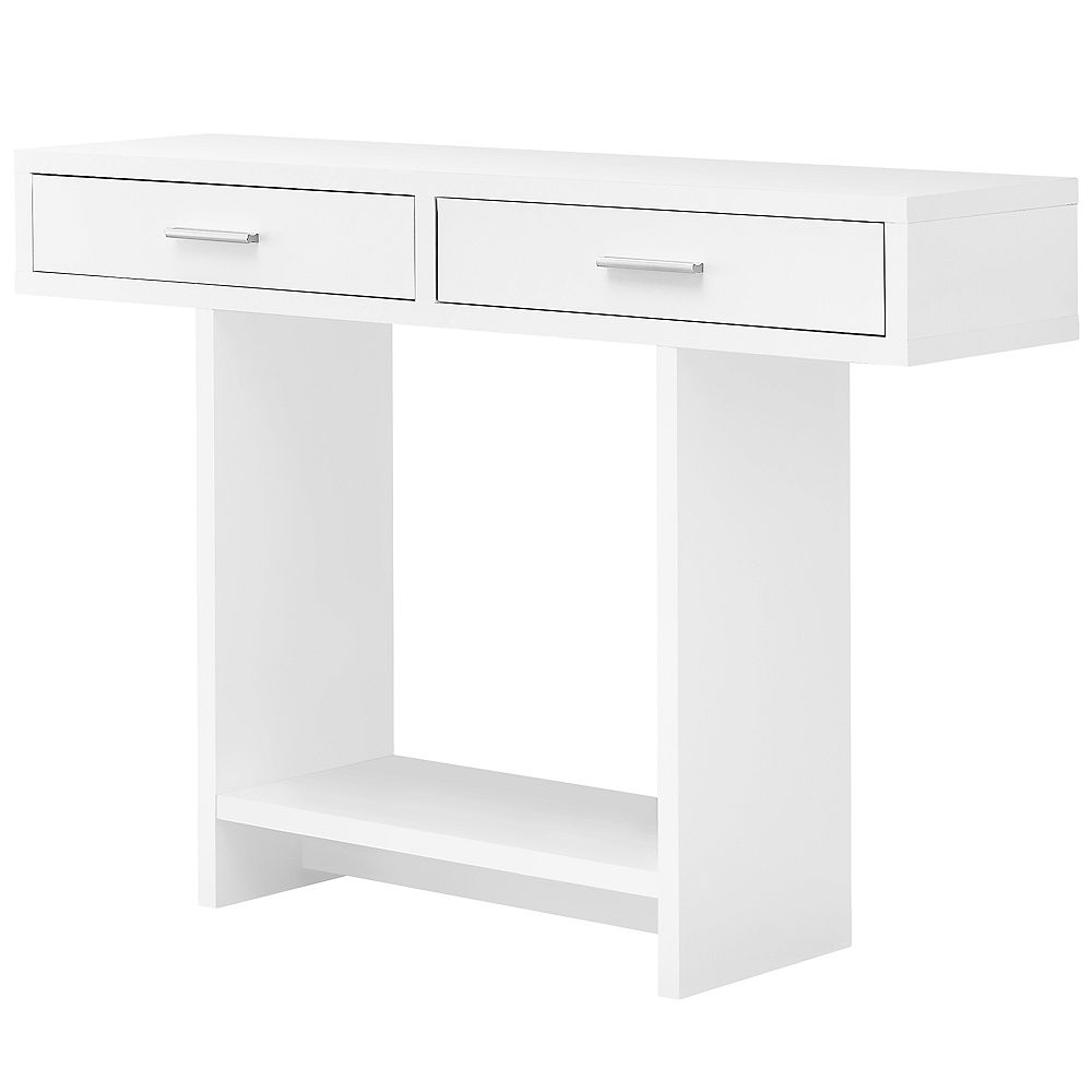 """Monarch Specialties Accent Table - 48""""L / White With Drawers"""
