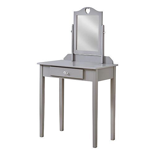 Vanite - Miroir Et Tiroir Entreposage Gris