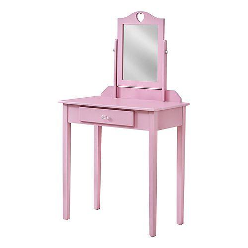 Vanite - Miroir Et Tiroir Entreposage Rose