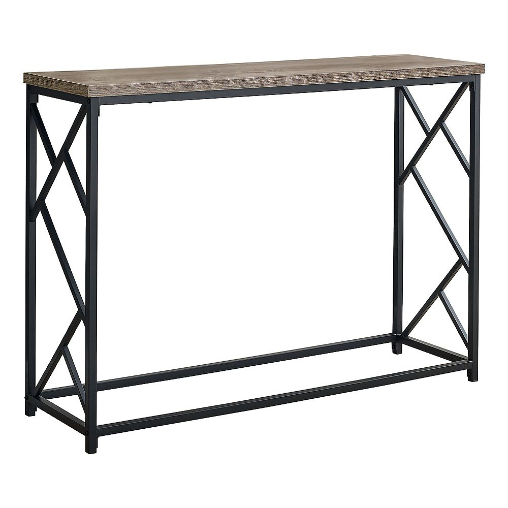 "Monarch Specialties Accent Table - 44""L / Taupe / Black Metal Hall Console"