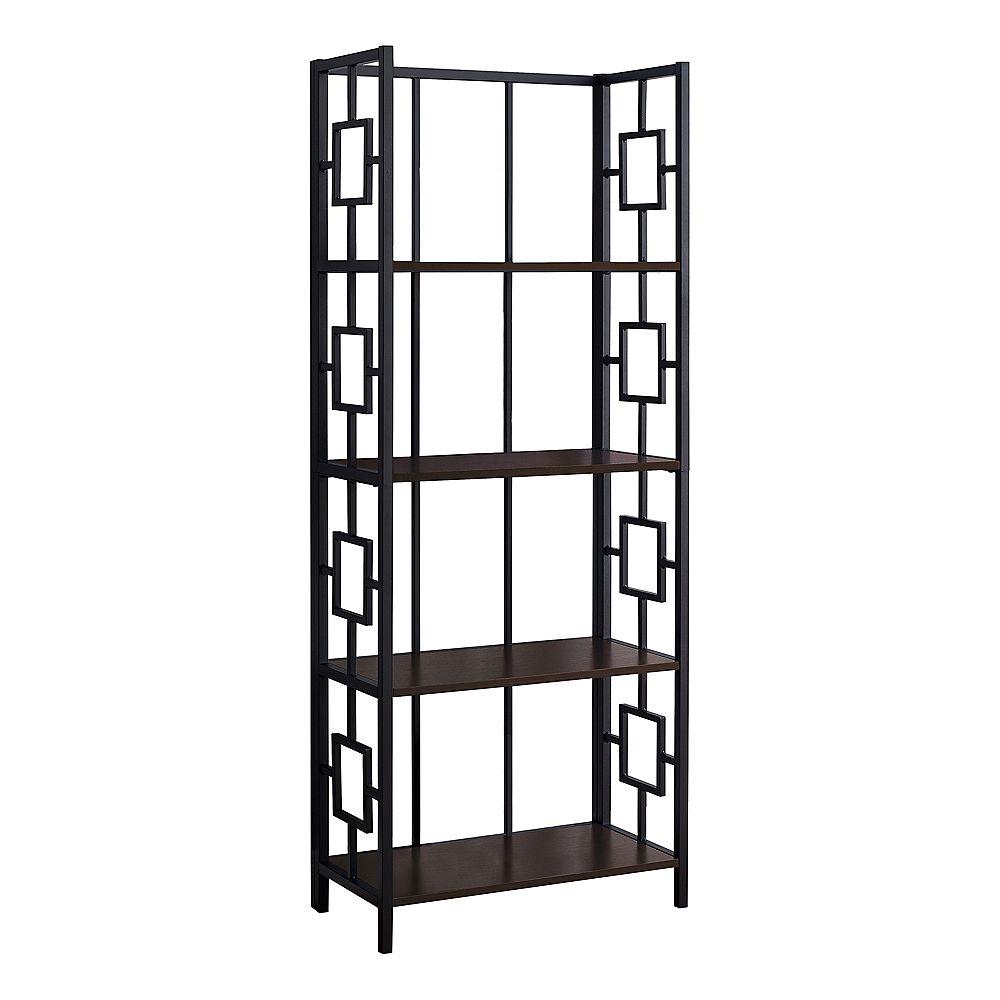 """Monarch Specialties Bookcase - 62""""H / Espresso / Black Metal Etagere"""