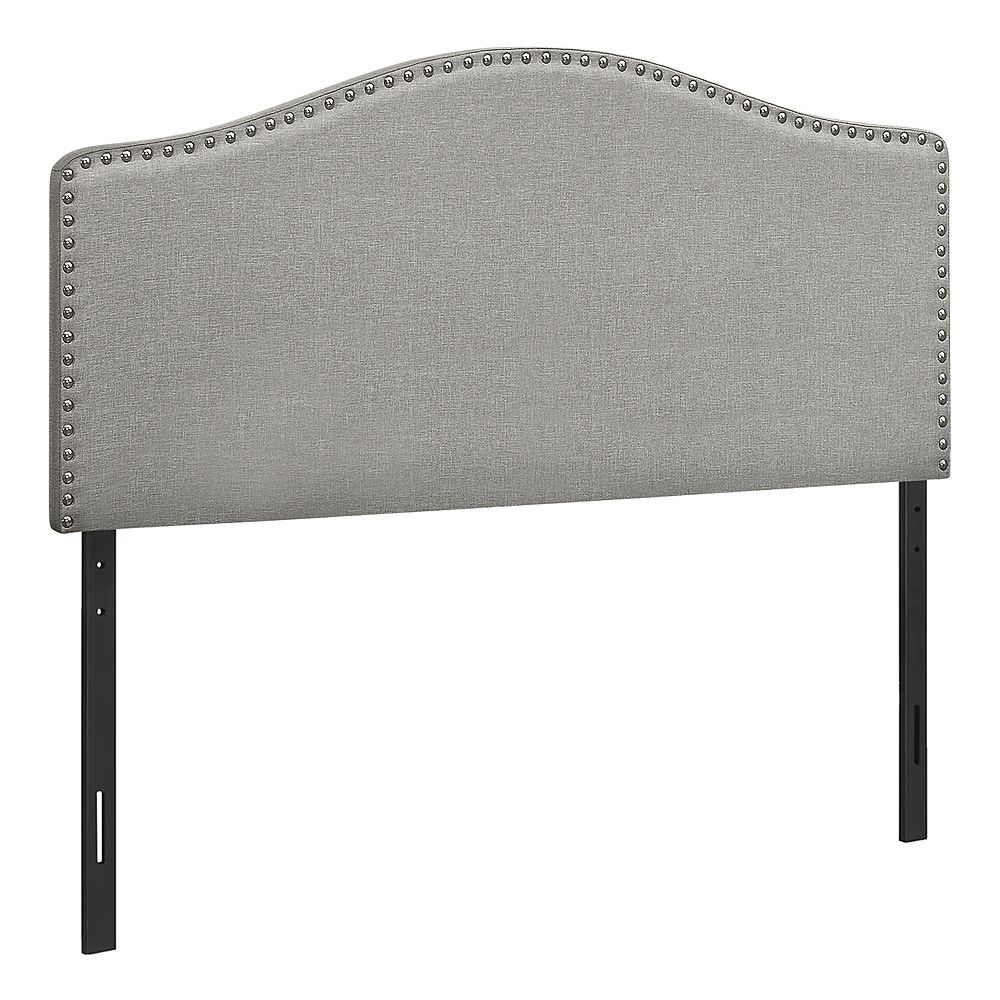 Monarch Specialties Bed - Full Size / Grey Linen Headboard Only